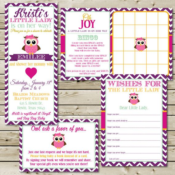 girl owl theme party baby shower invitation bingo books wish list