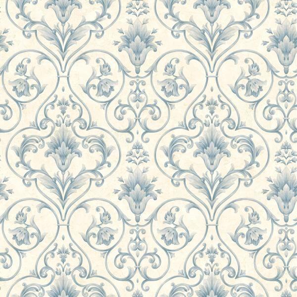 WALLPAPER SAMPLE Blue and Cream Victorian Scroll