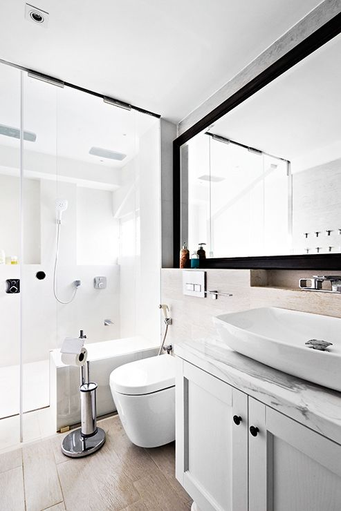 Narrow bathroom love the mirror the length of the wall for Bathroom designs singapore