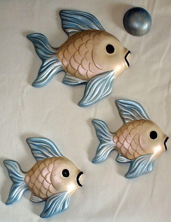 1960 39 s vintage ceramic fish bathroom decor for Bathroom fish decor