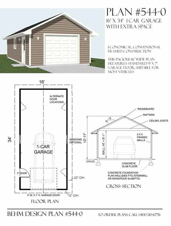 1 car garage plan 544 0 by behm design garage plans by for Design moderno garage per auto