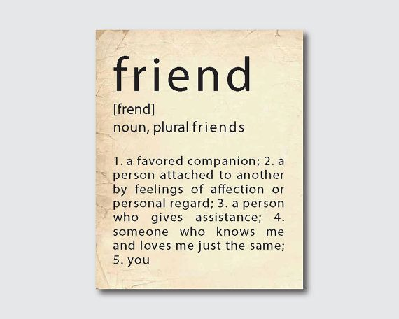 Typography Art Poster Friend Definition Print
