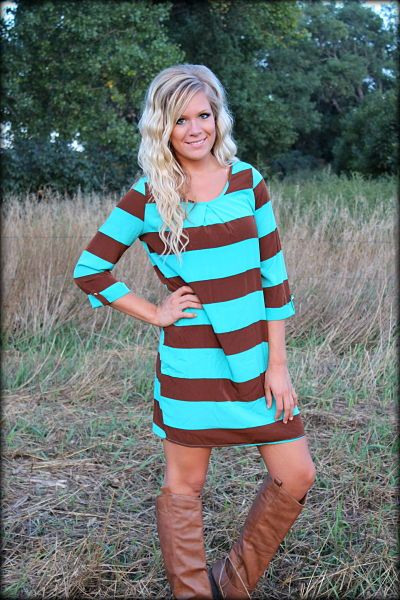 Everly Tunic striped dress in turquoise and brown: Filly Flair