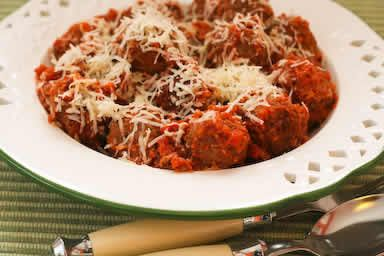 Beef and Sausage Meatballs in Tomato Sauce [from KalynsKitchen.com]