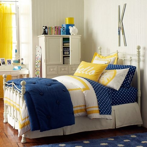 Navy bedding with yellow accents for the home pinterest for Blue yellow bedroom ideas