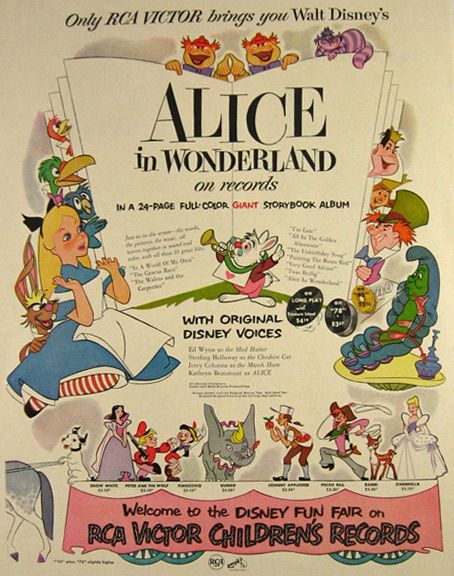 1951 RCA Records Alice in Wonderland Ad | Wonderland | Pinterest