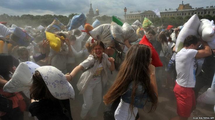 Pillow fight in St. Petersburg