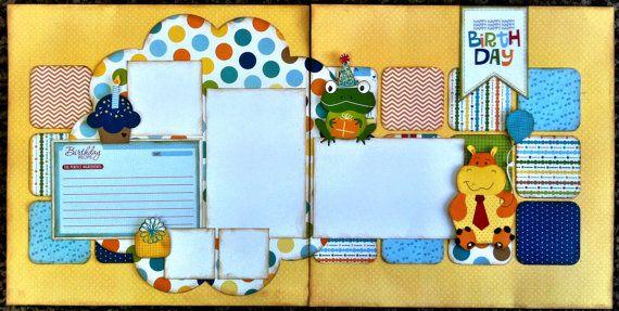 boy birthday scrapbook pages | Birthday Boy Scrapbook Layout Premade ...