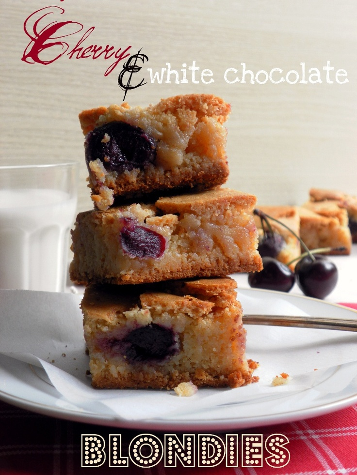 Chocolate-Cherry Blondies Recipe — Dishmaps