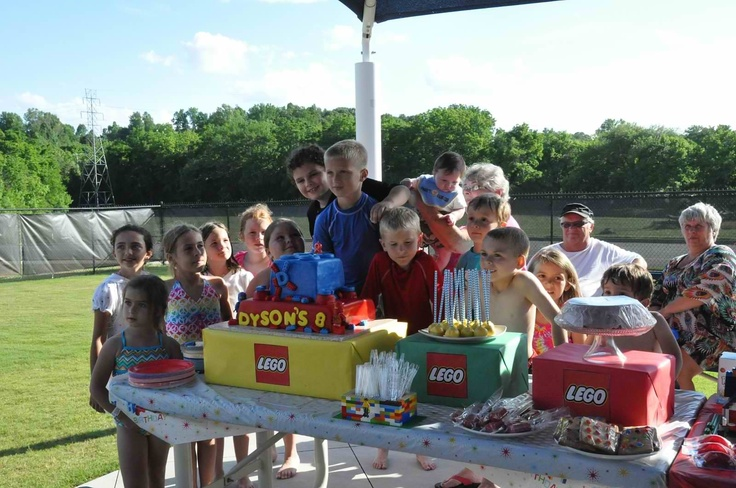Lego cake | Lego birthday pool party | Pinterest