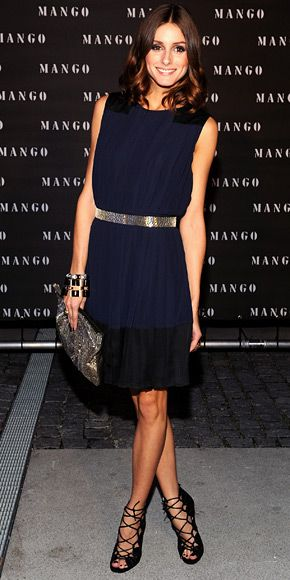 Olivia Palermo  WHAT SHE WORE  For Mango Fashion and Music Night in Munich, Palermo accessorized a pleated dress from the Spanish label with lace-up Jimmy Choos, a beaded Valentino bag and stacks of jewelry including an ASOS cocktail ring.