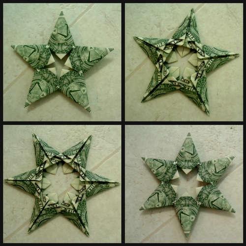 origami folded dollar bills (star)