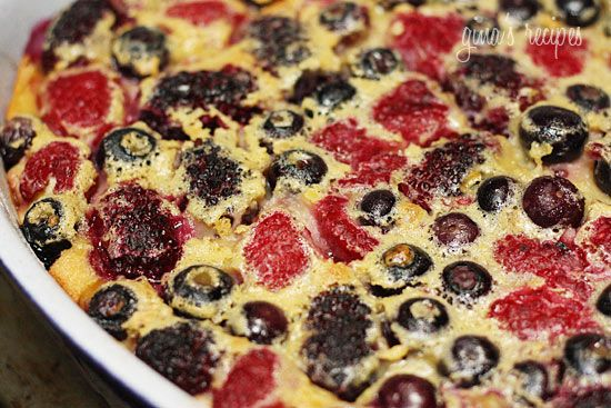 Flaugnarde of Mixed Berries (Clafoutis) Calories: 167.5 • Fat: 2.3 g ...