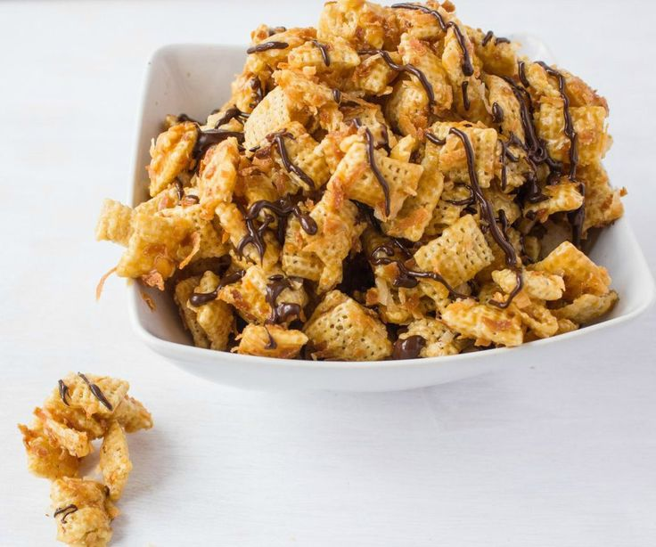 yummy Chex Mix is topped with rich salted caramel, toasted coconut ...