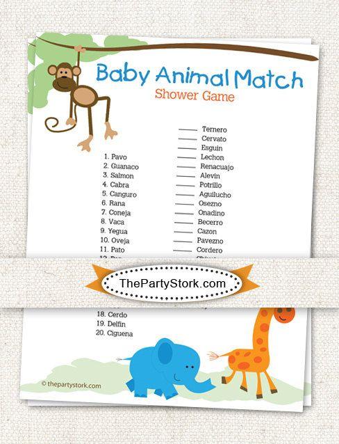 spanish baby shower game baby animal match safari by thepartystork 7