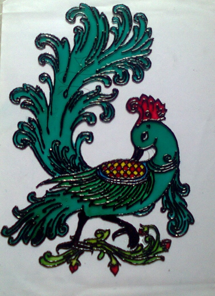 Peacock designs for glass painting - photo#13