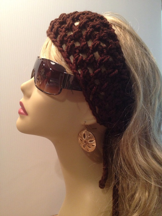 Cocoa Brown Mesh Crochet Hair Band Head Band by just4tdyCrochet, $10 ...
