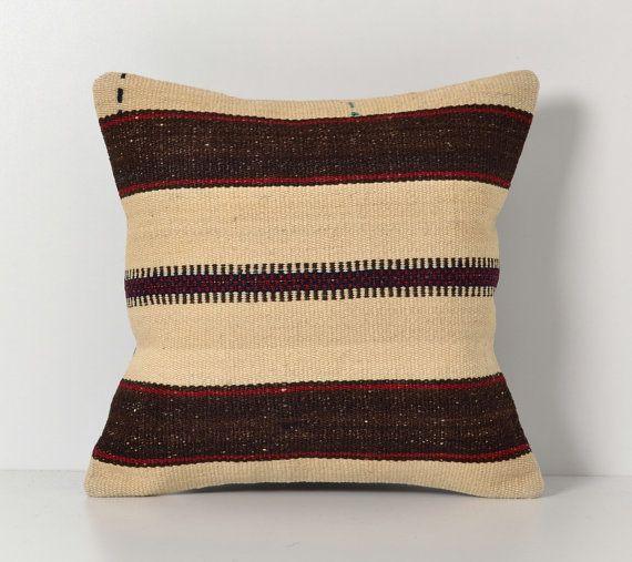 White Cream Throw Pillows : Decorative Kilim Pillows - Brown Cream White Red Vintage Cushion Cove?