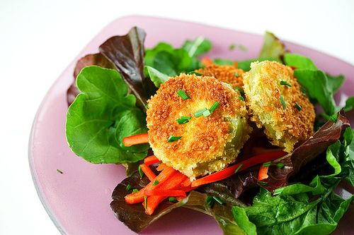 Fried Green Tomato Salad with Sweet Chili Dressing. Never have had ...