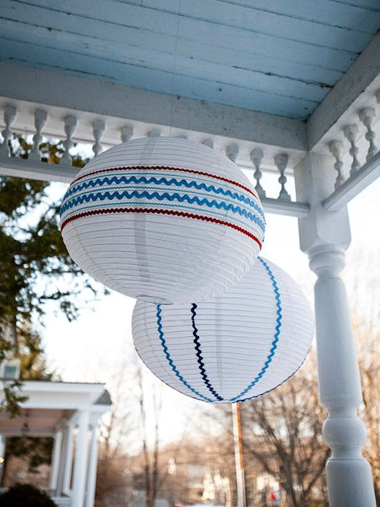 These Festive Lanterns are perfect for July 4 or a wedding if different colors are used.