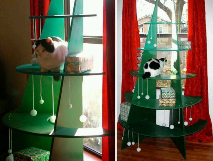 Cat safe christmas tree kittehs pinterest Christmas tree cat tower