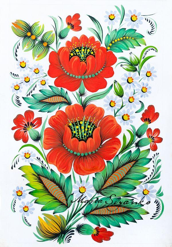 Петриковская роспись с рисованием
