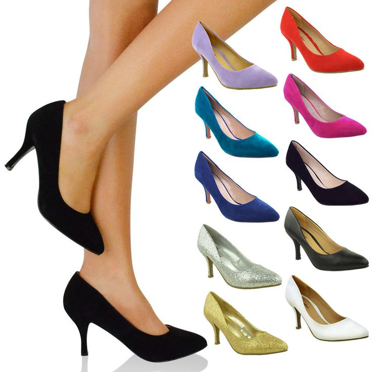 Womens Office Shoes Mid Heel Pumps Pointed Toe $38.74