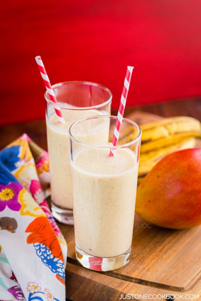 Mango coconut smoothie made with Greek Yogurt.