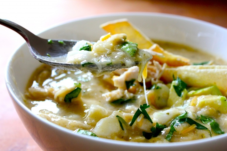 chicken tortilla soup with cilantro and hominy