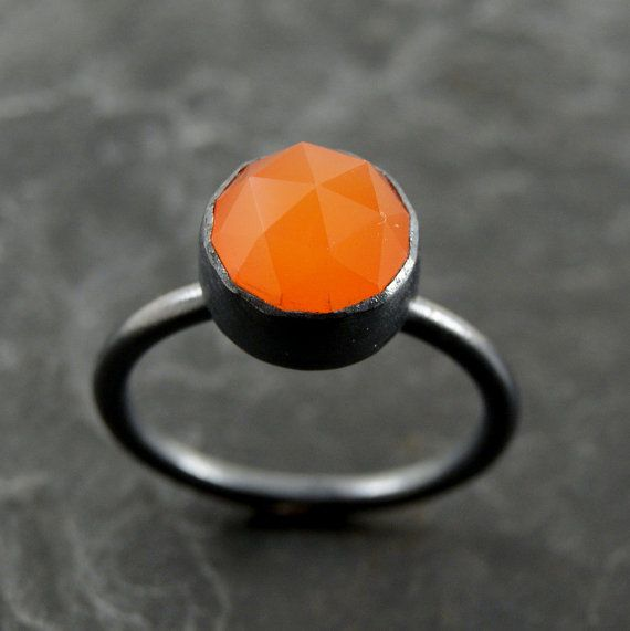 A bright orange chalcedony ring. Oh so lovely.