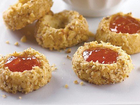 Apricot Walnut Thumbprint Cookies   Holiday Ideas   Pinterest