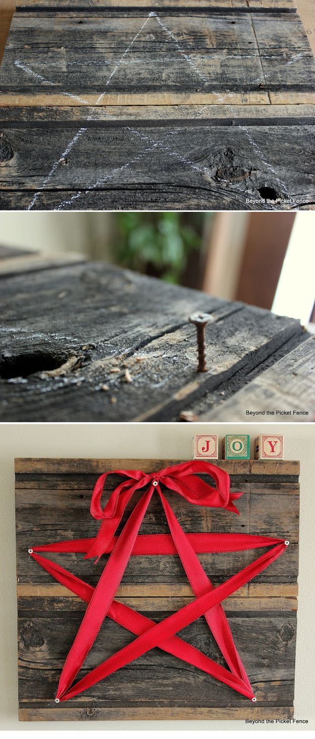 15-Minute Ribbon Star-insanely easy DIY decor. just swap the ribbon color depend