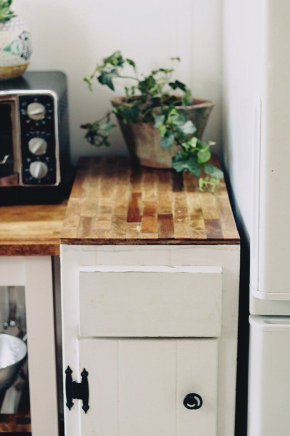 Budget Diy Kitchen Project A Countertop Made Out Of Wooden Paint Sti