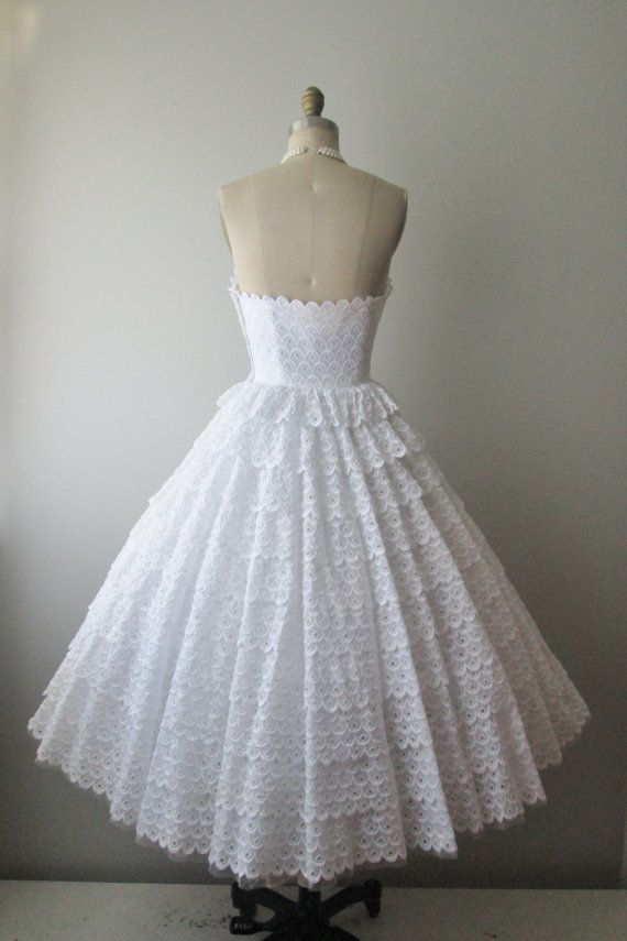 50 39 S Eyelet Wedding Dress Vintage 1950 39 S Strapless