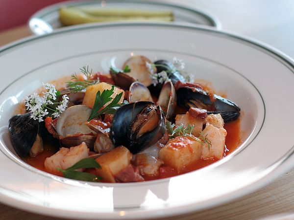 White fish, Manila clams, mussels, and linquiça sausage. #food # ...