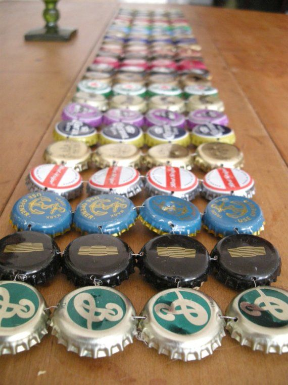 Bottle cap craft: Table runner!