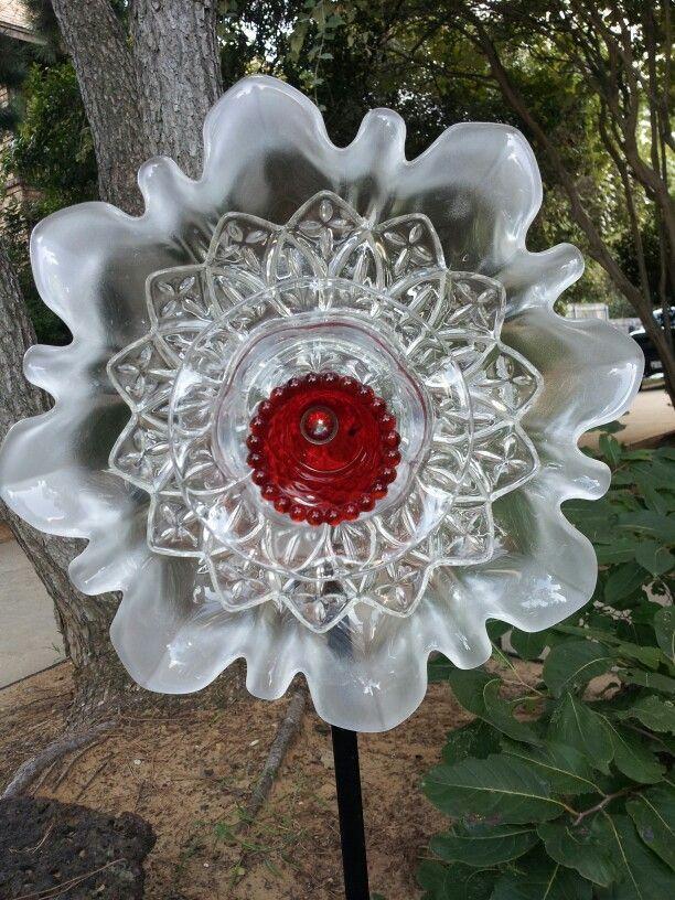 glass flower yard art glass plate flowers pinterest