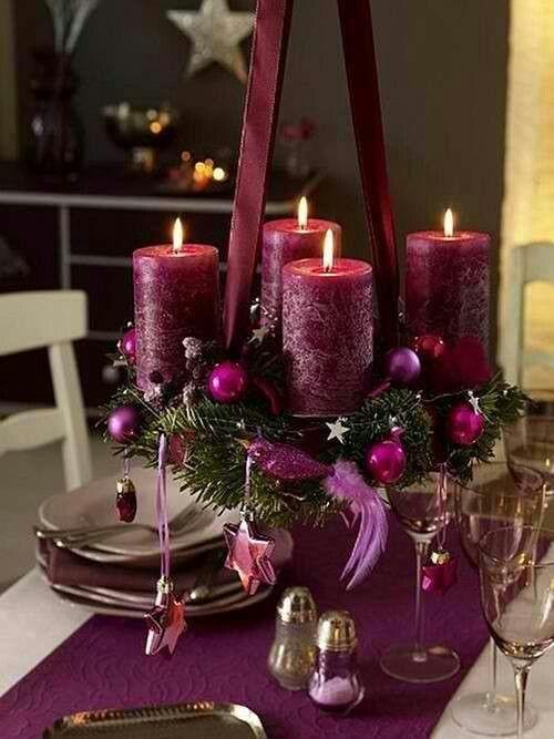 centro de mesa navidad morado