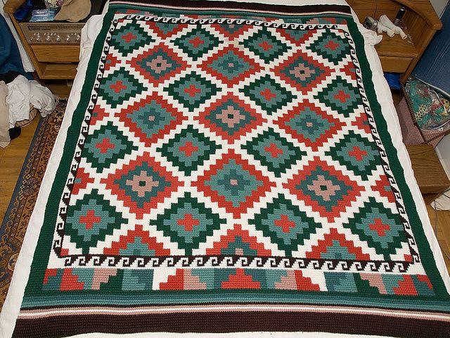 Geometric Crochet Afghan Pattern : Geometric Indian Afghan Afghans 5 Pinterest