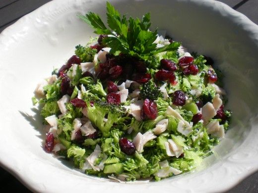 Raw Broccoli and Cranberry Quick and Easy Salad Meal