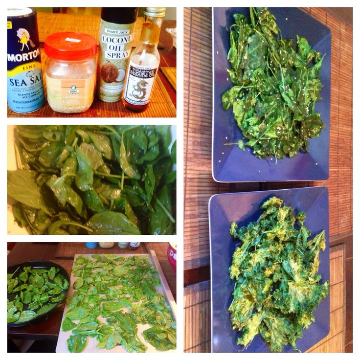 Kale and Spinach Chips: Toss with sesame seed oil, sesame seeds and ...