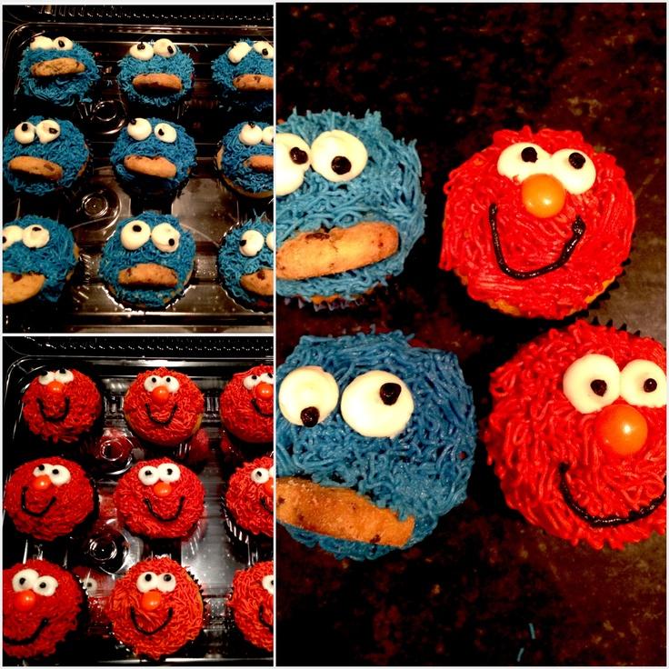 Elmo & Cookie Monster Cupcakes!! | Cookies | Pinterest