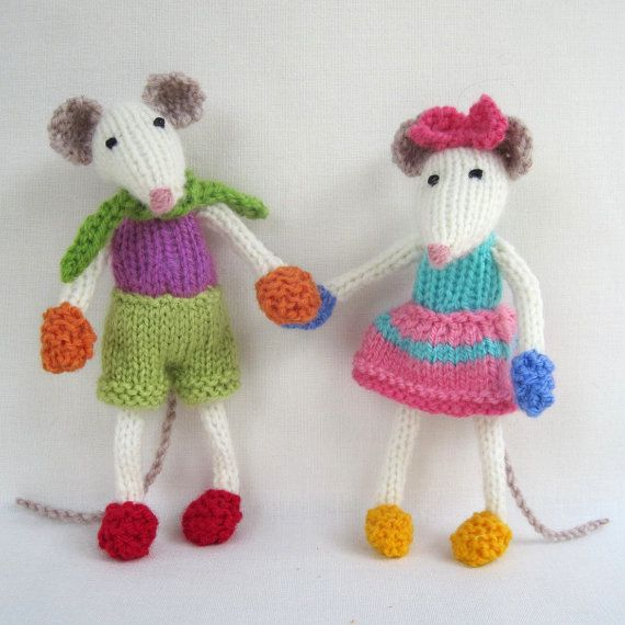 Mischievous Mice - toy mouse - PDF knitting pattern email