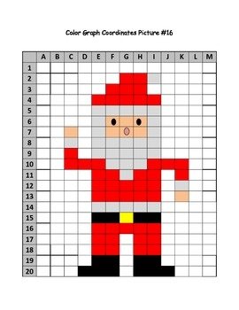Santa Mystery Picture Color Graph using coordinates Christmas fun