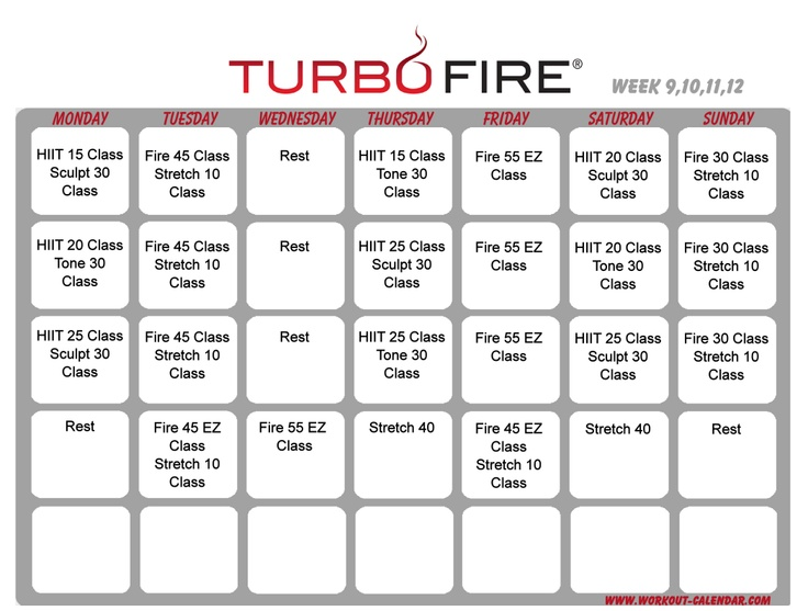 Turbo Fire schedule weeks 9-12 | Healthy and fit | Pinterest
