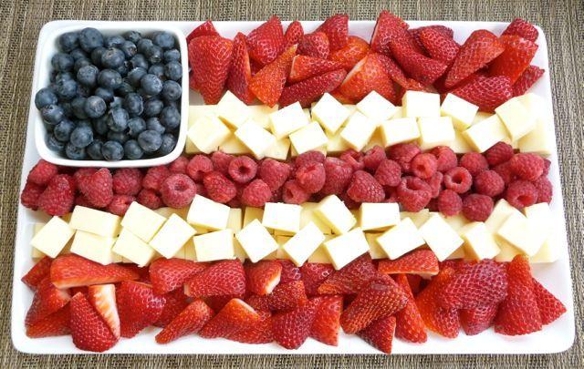 Patriotic fruit & cheese tray