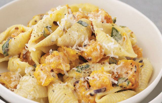 Pasta with Butternut Squash, Cream, and Sage