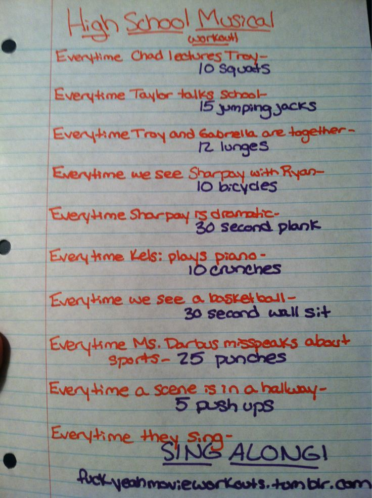 High School Musical workout!- I love all musicals.  (My guilty pleasure, haha)
