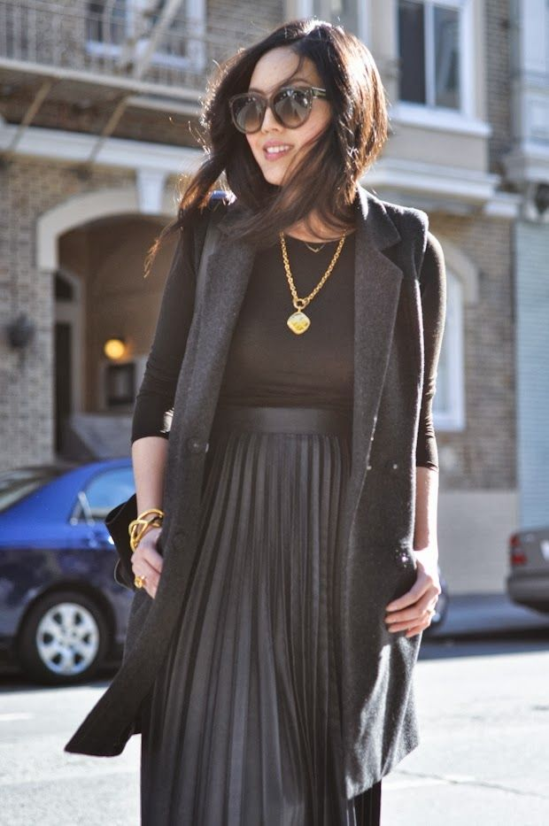 Black on Black, Long Vest, Pleated skirt [ Find. Shop. Discover. www.specialteesboutique.com ]