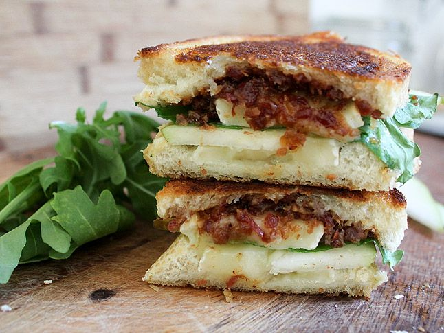 Bacon Jam, Arugula, and Pear Grilled Cheese